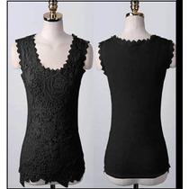 Blusa Renda Frontal De Croche Guipir - Importada -p/entrega