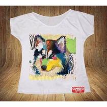 Blusa Feminina Gola Canoa Raça Husky Pop Art Pet Cachorro