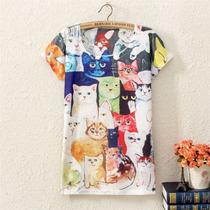 Camiseta Cat Lovers Os Gatinhos Coloridos Arts Cats Color