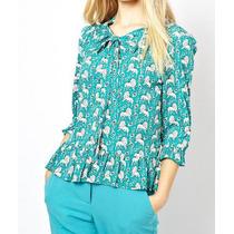 Blusa Camisa Feminina Chifon Vintage Retrô Leãozinho