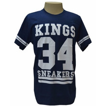 Camiseta King Snearkes Azul Marinho E Branco Frete Gratis