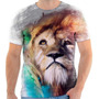 Camiseta - Camisa Leão Lion Animal Felino Luzes Colorido Col