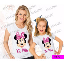 Tal Mãe Tal Filha Baby Look Kit 2 Uni Camiseta Minnie Mickey