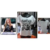 Blusa Feminina Ombro Caido Gola Banda Rock The Beatles C/nf