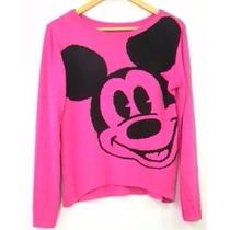 Blusa De Frio Feminina De Lã Trico Minnie Mickey Cardigans