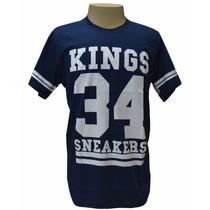 Camiseta King Snearkes 34 Azul Marinho E Branca