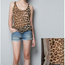 Blusa Blusinha Leopardo Onça Animal Print Renda Regata