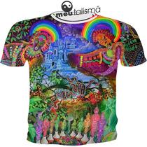 Camiseta Ou Baby Look Selva Arco Íris Psicodélicas