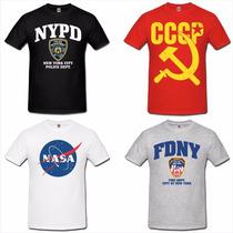 Camiseta Militares Cccp Fbi Nypd Fdny Swat Csi Nasa Bope Mma