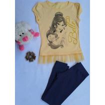 Blusa Infantil Bella E A Fera,conjunto Blusa E Legging,festa