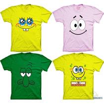 Camisetas Bob Esponja Patrick Estrela Lula Molusco Desenho
