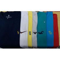 Kit 5 Camisetas Básicas Lisas - Bordadas Grifes Moda Atacado