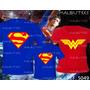 Camiseta Super Pai Super Filho E Mãe Maravilha Super Heróis