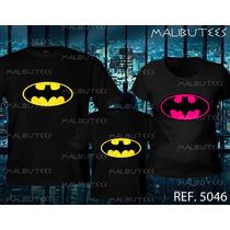 Camiseta Pai E Fillho Batman E Mãe Batgirl Super Heróis