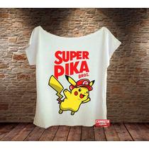 Camiseta Masculina Pikachu Super Bros Herói Game Jogo Sátira