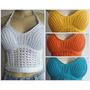Blusa Frente Unica, Top Cropped Panicat, Tricot/trico/croche