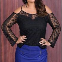 Blusa Plus Size Preta Em Renda Ciganinha Moda Maior Tam. 52