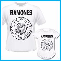 Kit Tal Pai Tal Filho Camiseta E Body Infantil Ramones, Rock