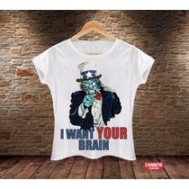 Camiseta Feminina Brain Cérebro Zumbi Zombie Divertida Funny