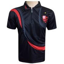 Camisa Polo Do Flamengo Preta Com Ziper Frete Grátis