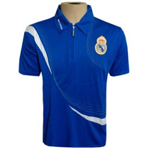 Camisa Polo Do Real Madrid Azul Com Ziper