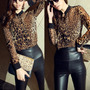 Blusa Camisa Chiffon Estampada Onça Leopardo Animal Print