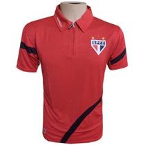 Camisa Polo Do São Paulo Vermelha Com Ziper Frete Grátis