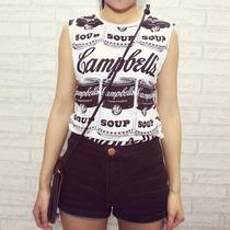 Camiseta Feminina Estampada Sopa Campbells - Pronta Entrega
