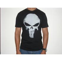 Camiseta Justiceiro Punisher 100 Algodão Fio 30 Penteada Gr