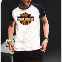 Camiseta Raglan Manga Curta Harley Davidson