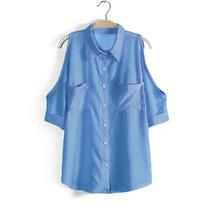Blusa Camisa Social Ombro Vazado Aberto Bolso Pronta-entrega