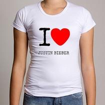 Camiseta Baby Look I Love Justin Bieber 100% Poliéster