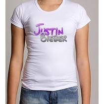 Camiseta Baby Look Justin Bieber 100% Poliéster