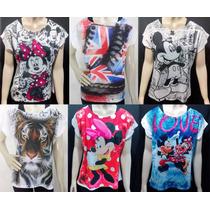 Kit 3 Blusas Blusinha Feminina Estampa Mickey Minnie Outros