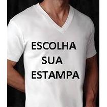 Camiseta Masculina Personalisada Gola V 100% Algodão