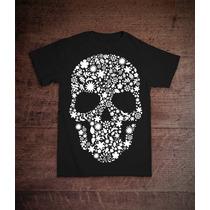 Camiseta D-leve7 - Caveira - Original - Preto E Cinza