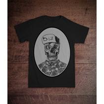 Camiseta D-leve7 - Estilo Caveira - Original - Preto E Cinza