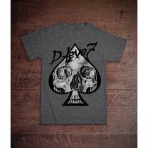 Camiseta D-leve7 -caveira Espadas - Original -cinza E Branco