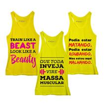 Frete Grátis! Combo 100% Fitness: 3 Regatas Femin. Amarelas