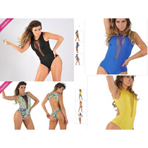 Body Collant Transparente Tule Suplex Lisos Estampado