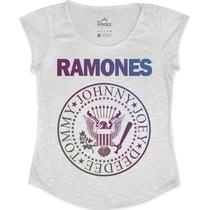T-shirt Feminina Ramones Colorida