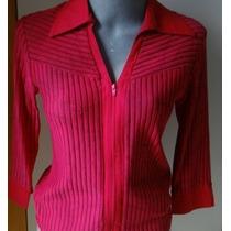 Camisa Feminina Vermelha Ziper Na Frente