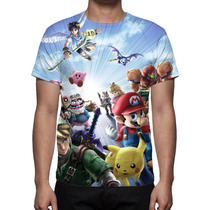 Camisa Camiseta Game Nintendo Super Smash Bros Estampa Total
