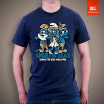 Camisetas Walking Dead Smurf Zombie Zumbi Tv E Desenhos