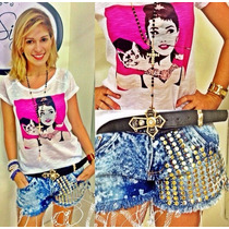 T-shirt Diversos Modelos Lv Chanel Marilyn A. Hepburn Olsen