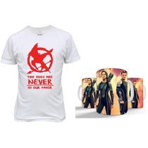 Kit Camiseta+caneca Jogos Vorazes Presente