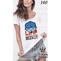 Camiseta T-shirt Bizkit Fashion Feminino Blusa Baby Look