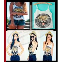 Blusa Regata Feminina Estampa De Tigre