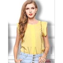 Camisa Feminina Blusa Blusinha Bata Em Chiffon