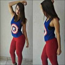 Blusa Camiseta Regata Cavada Feminina Media Capitão America